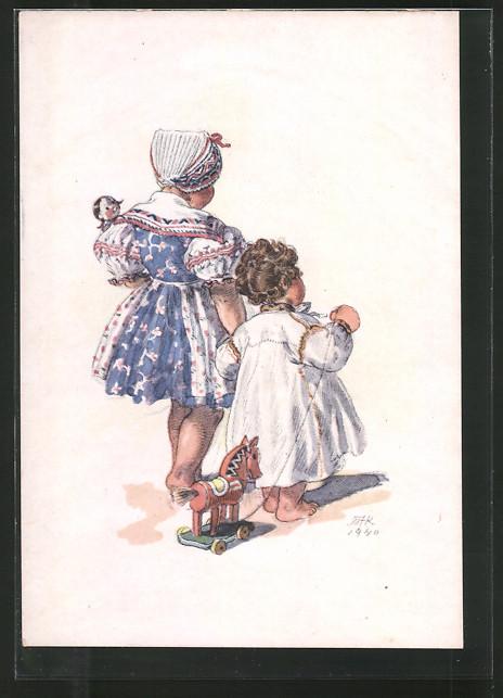 Künstler-AK M. Fischerova-Kvechova (MFK): Mädchen in Tracht mit Brüderchen und Spielzeug-Pferd