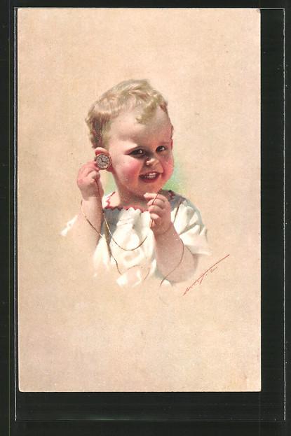 Künstler-AK James Henderson + Sons Nr. 655: Kleinkind mit Taschenuhr
