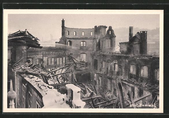 AK Stuttgart, Brand des Stuttgarter Alten Schlosses am 21.12.1931, Inneres des ausgebrannten Schlosses