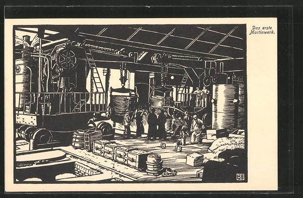 Künstler In Essen künstler ak essen krupp werke fabrikarbeiter im ersten martinwerk