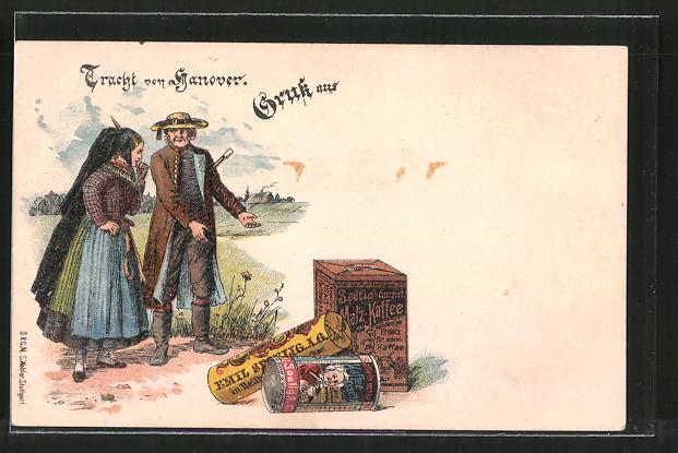 Lithographie Hannover, Reklame für Emil Seelig Kaffee, Tracht von Hannover