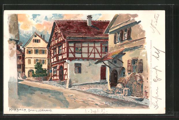 Künstler-Lithographie Fritz Beckert: Marbach, Partie am Schillerhaus