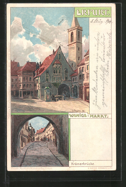 Künstler-Lithographie Albert Stagura: Erfurt, Wenige-Markt, Krämerbrücke