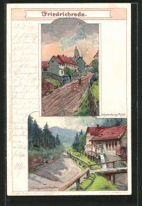 Künstler-Lithographie Albert Stagura: Friedrichroda, Schauenburgs-Mühle