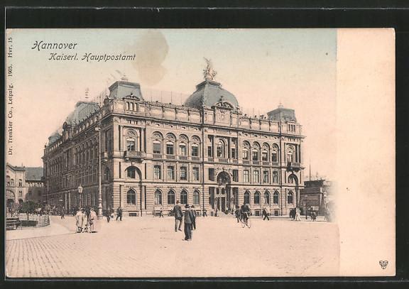 AK Hannover, Kaiserliches Hauptpostamt, Passanten