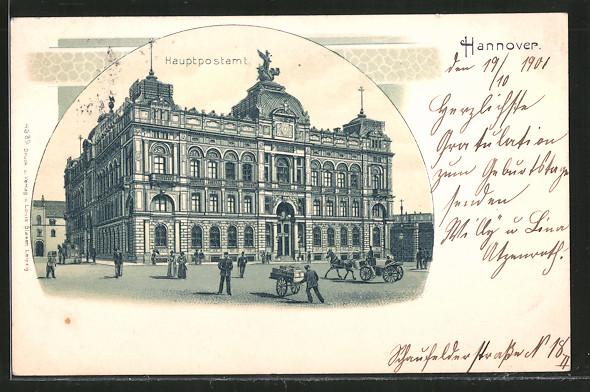 Lithographie Hannover, Passanten und Kutschen vor dem Hauptpostamt