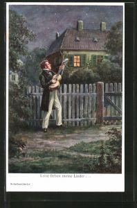 AK Schubertlieder, Leise flehen meine Lieder, einsamer Gitarrespieler