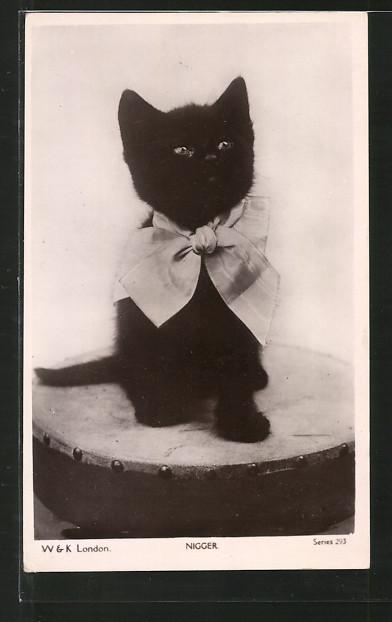 AK Schwarzes Kätzchen mit Schleife um den Hals