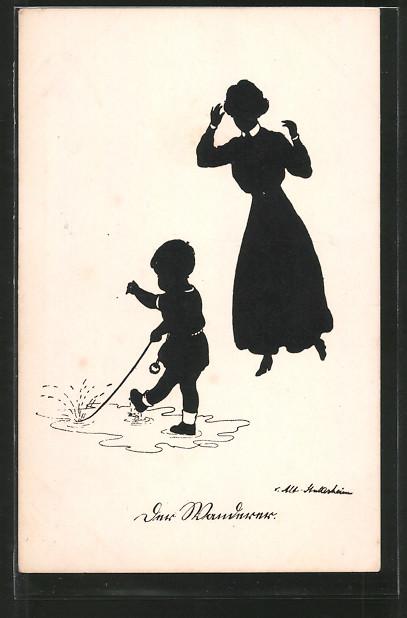 Künstler-AK Ov. Alt-Stutterheim: Kleiner Junge spielt in einer Pfütze, Silhouette
