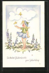 Künstler-AK Glückwünsch zum Geburtstage, kleine Blumenfee und Schmetterlinge