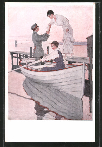 Künstler-AK Brynolf Wennerberg: Heimaturlaub. Leutnant und junge Damen in Ruderboot