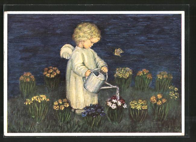 Künstler-AK Maria Spötl: Blumenenglein beim Giessen