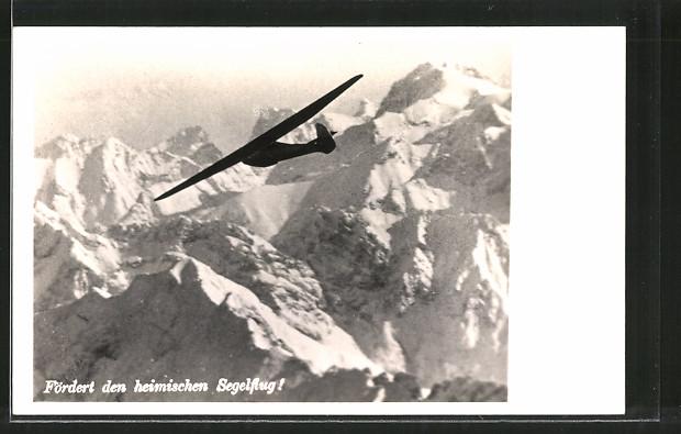 AK Österreich, Spende für den Wiederaufbau d. österr. Segelfluges, Segelflugzeug über dem Gebirge