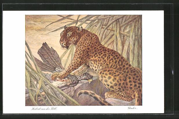 Künstler-AK Leopard mit seiner Beute
