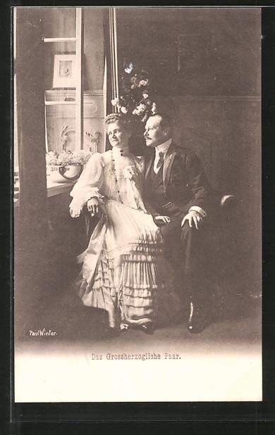 AK Grossherzog Ernst Ludwig von Hessen-Darmstadt mit Grossherzogin Eleonore