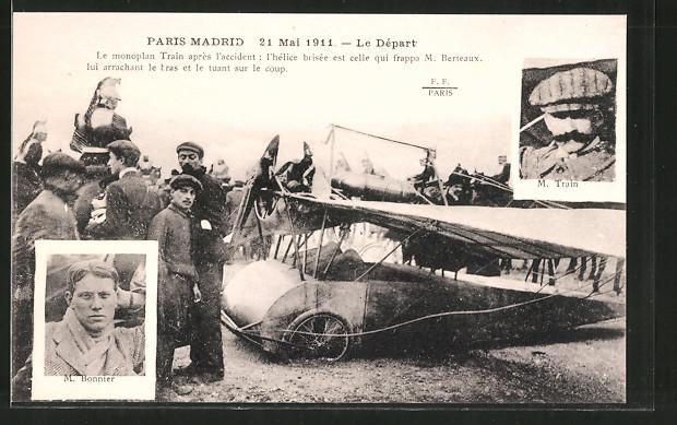 AK Piloten M. Train und M. Bonnier mit ihrem Flugzeug vor dem Start zum Flug Paris-Madrid 1911