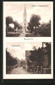 AK Ragewitz, Kirche und Kriegerdenkmal, Strassenpartie mit Anwohnern