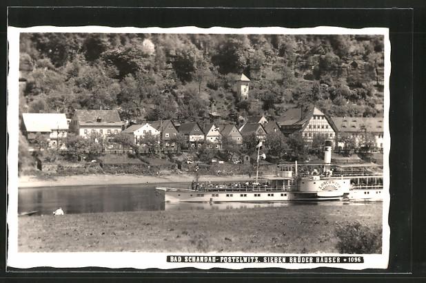 AK Postelwitz, Elbedampfer Loschwitz passiert die Sieben Brüder Häuser
