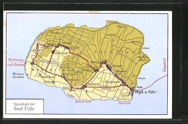 AK Boldixum, Landkarte der Insel Föhr