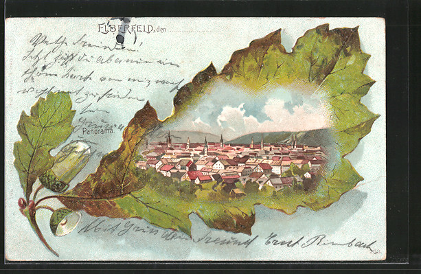 Passepartout-Lithographie Elberfeld, Stadtpanorama, Eichenblatt