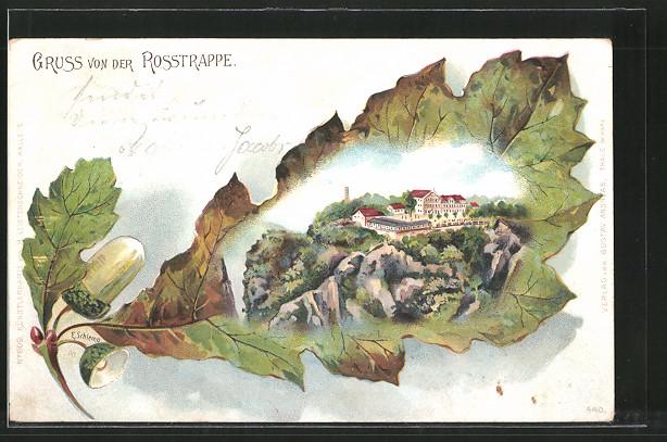 Passepartout-Lithographie Thale, Blick zur Rosstrappe, Eichenblatt