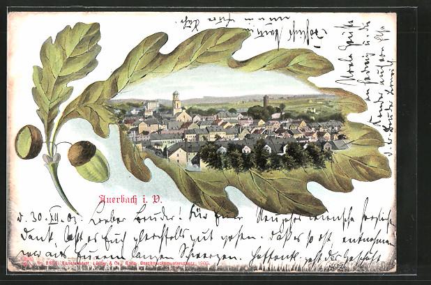 Passepartout-Lithographie Auerbach, Stadtpanorama, Eichenblatt