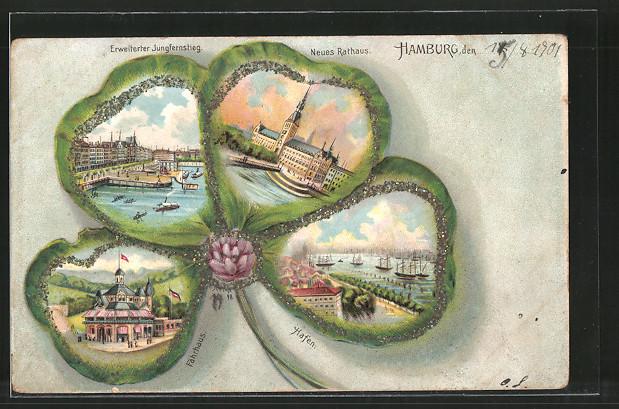 Passepartout-Lithographie Hamburg, Neues Rathaus, Hafen, Fährhaus, Segelboote, Kleeblatt