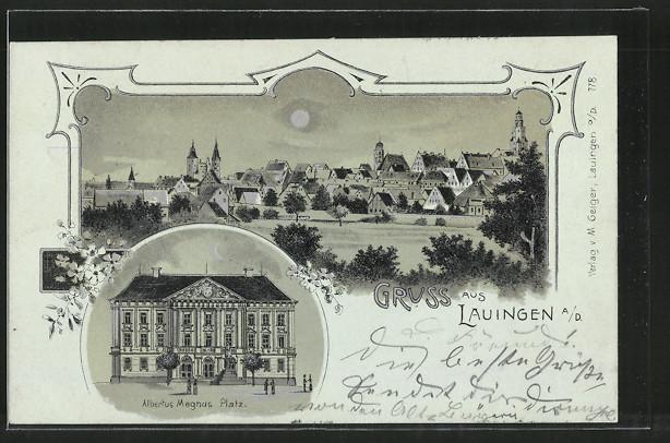 Mondschein-Lithographie Lauingen, Albertus Magnus-Platz, Ortsansicht