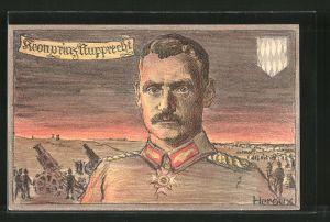 Künstler-AK Bruno Heroux: Porträt Kronprinz Rupprecht von Bayern in Uniform, Artilleristen am Geschütz, Wappen