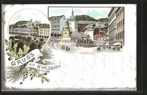 Lithographie Karlsbad, Teilansicht mit Kurhaus, Partie an einem Platz