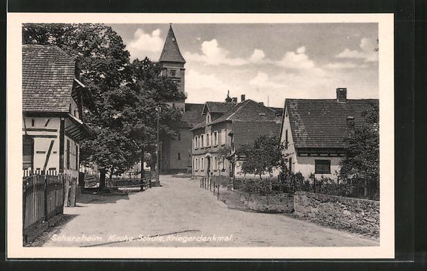 AK Scherzheim, Kirche, Schule & Kriegerdenkmal