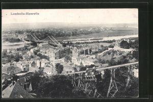 AK Dresden-Blasewitz, Teilansicht mit Drahtseilbahn und Blick auf Loschwitz