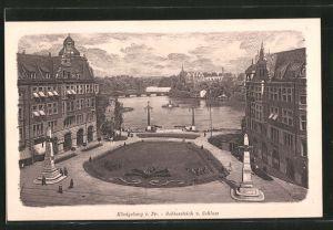 AK Königsberg, Schlossteich vom Schloss