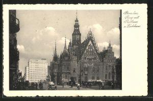 AK Breslau, Ring mit Rathaus & Hochhaus