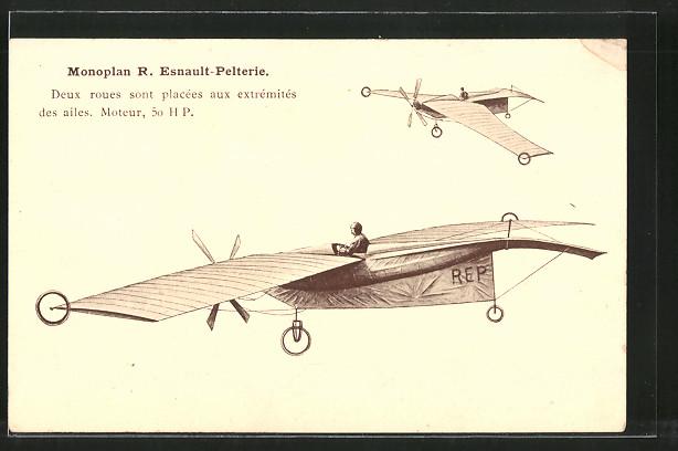 AK Flugzeug R. Esnault-Pelterie, Monoplan, Eindecker
