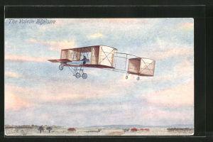AK Flugzeug Doppeldecker Voisin im Flug