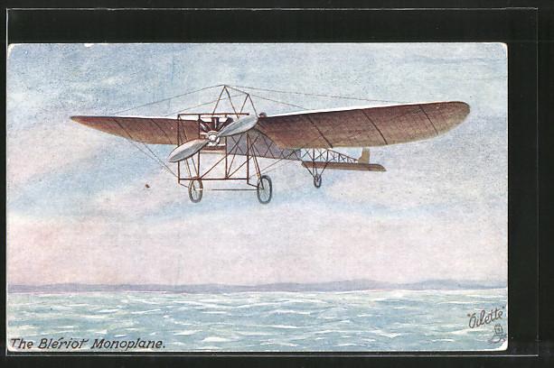 AK Flugzeug Endecker Blériot im Flug über dem Meer