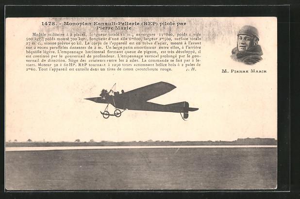 AK Pilot Pierre Marie mit seinem Flugzeug Esnault-Pelterie