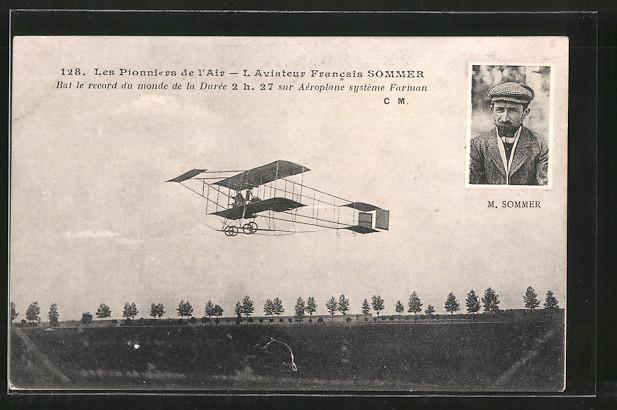 AK Pilot Sommer mit seinem Flugzeug Farman, Doppeldecker