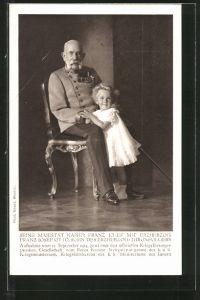 AK Kaiser Franz Josef I. von Österreich in Uniform mit Erzherzog Franz Josef Otto