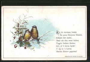 Vorläufer-Lithographie zwei Vögel sitzen auf einem Zweig, 1894