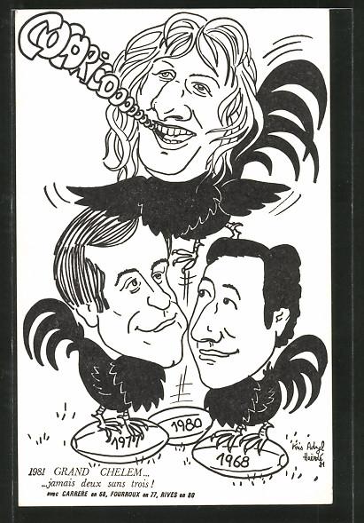 Künstler-AK Frankreich, Karikatur, franz. Rugby-Nationalteam, Sieger 5-Nationen-Turnier 1968, 1977 & 1981