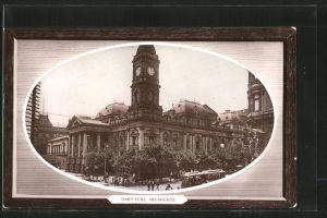 AK Melbourne, Town Hall, Strassenbahn