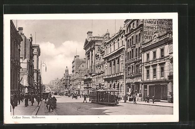 AK Melbourne, Strassenbahn auf der Collins Street