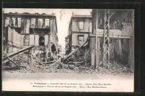 AK Salonique, Incendie des 18.-20. Aout 1917, Rue Max Harden, Brand der Stadt