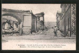 AK Salonique, Incendie des 18.-20. Aout 1917, une Rue du Quartier Franque, Strasse nach dem Brand