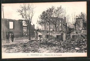 AK Salonique, Incendie des 18.-20. Aout 1917, Effrayant effet de l'incendie, Zerstörungen nach dem Brand
