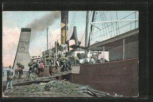 AK Mobile, AL, Unloading Bananas, Arbeiter entladen ein Schiff