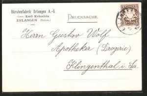 AK Erlangen, Bürstenfabrik Erlangen A.-G., Ankündigung eines Vertreters