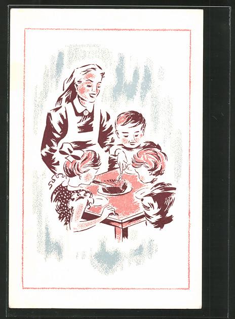 AK Krankenschwester und hungrige Kinder, niederländische Kinderfürsorge
